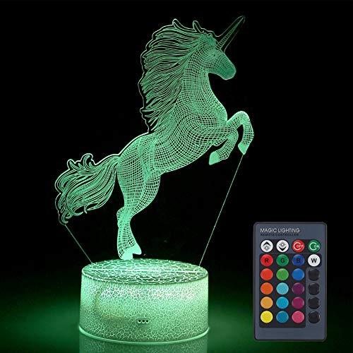 VANSIHO Unicorn 3D Illusion Night Light, Decorative LED Table Lamp Christmas Birthday Gift for Kids Boys Girls Children