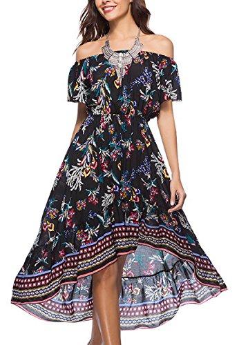 Maxi V rouge de Courtes Floral de Robe Femme d't Manches Col Plage Imprim Robe Profond Robe Noir Bohme Evedaily Vacances Robe gRqfnwxzRI