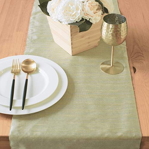 The White Petals Sage Green Coffee Table Runners (13x36 inch, Pack of 1) Fabric Lined | Properly Finished, No Fray Edges | for Home, Kitchen, Dining Room, Holiday, Wedding Party Decor