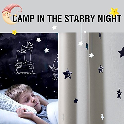 Nursery Blackout Curtains Kids Room Darkening Window Curtains for Bedroom 70 inches Long Twinkle Star White Draperies for Living Room Back Tab Thermal Insulated Window Treatment Set 2 Panels (70 Curtains Window Inch)