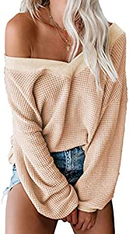 Asvivid Womens Off The Shoulder Sweater Batwing Sleeve Oversized Knit Pullover Sweater Tops