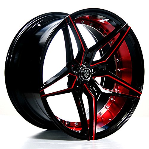 19 Inch Rims (Black and Red) - Full Set of 4 Wheels - Made for MAX Performance - Racing Wheels for Challenger, Mustang, Camaro, BMW and More! Rines para Carros - (19x8.5