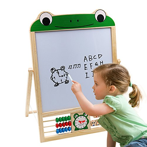 Xben Art Easel for Toddlers and Kids, Two-Sided Magnetic Drawing Painting Chalkboard Easel for Children with Letters and (2 Sided Child Easel)