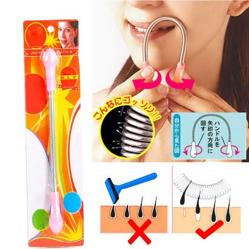 New Face Facial Hair Spring Remover Stick Removal Threading Tool Pink 8761234972861