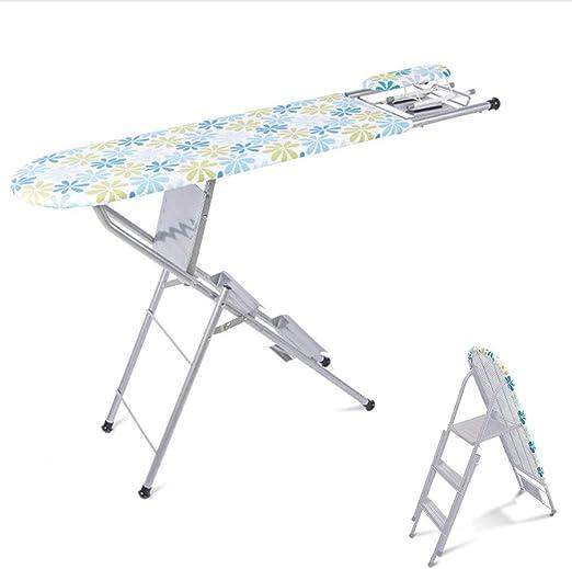 HURRUI- Cubierta de la Tabla de Planchar Mesa de Planchar Plegable Grande Escalera Vertical Multifuncional for el hogar con Soporte de Plancha de Vapor: Amazon.es: Hogar
