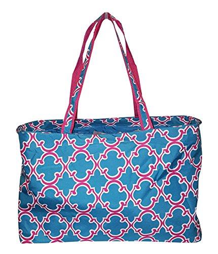 Fashion Print Tailgater X-Large Tote - Carry All Organizer Bag (Quatrefoil Blue) (Carry Bag Fashion)