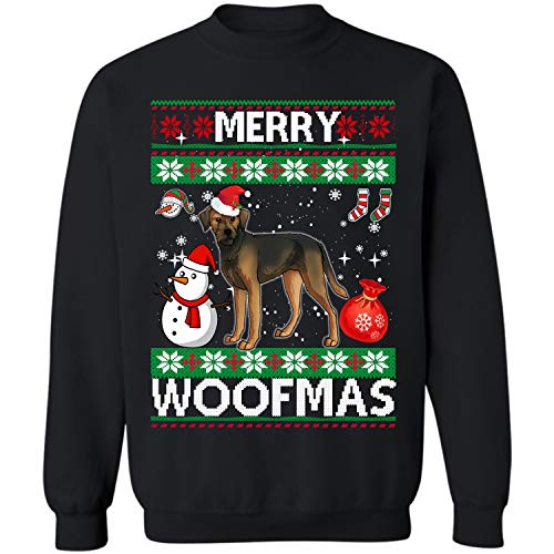 Border Terrier Dog Merry Woofmas Crewneck Sweatshirt Christmas Costume (Black - L) ()
