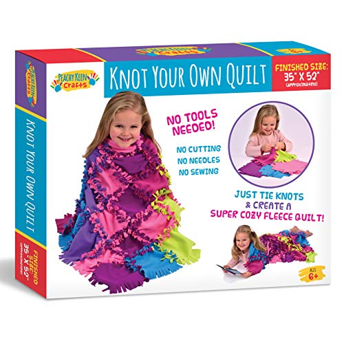 Peachy Keen Crafts Knot A Quilt Kit - Make Your Own No Sew Fleece Tie Blanket with Pre-Cut Squares