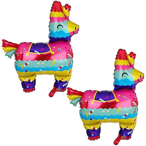 2 Pcs Llama Shaped Jumbo Mylar Foil Balloon Mexican Fiesta Theme Party Decorations Birthday Baby Shower Decor Supplies