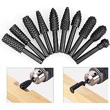 "HDDU 10pcs/Set Twist Drill Bit Wood Carving File Rasp Drill Bits 1/4"" 6mm Shank Tool Power Tools Woodworking Rasp Chisel Shaped Rotating Embossed Grinding Head"
