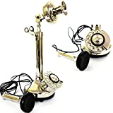 Shiny Brass Nickel Finish Decorative Candle Stick Phone Silver