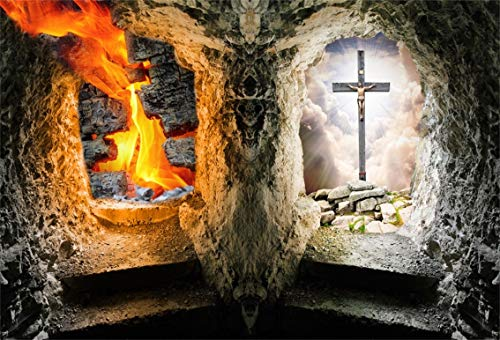 Leyiyi 6x4ft Heaven and Hell Photography Background Two Choice Gate Arch Door Jesus Christ on Cross Underground Fire Flame Vintage Stone Cave Backdrop Happy Halloween Photo Portrait Vinyl Studio -