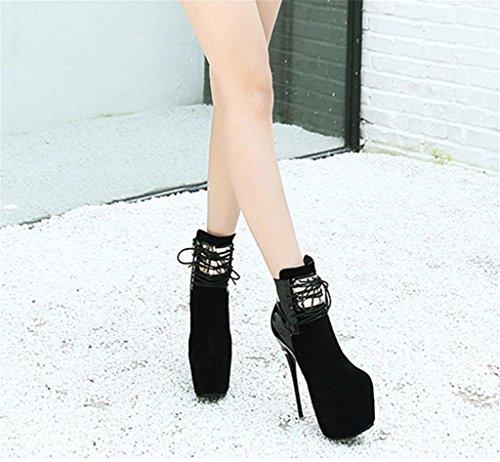 HETAO Persönlichkeit Heels Frauen-Bügel feinen mit Weinlese-Pumpen-Aufladungs-Plattform-niedrigen Spitzenroten hohen Absatz-Knöchel-Partei-Schuhen Temperament elegante Schuhe Black