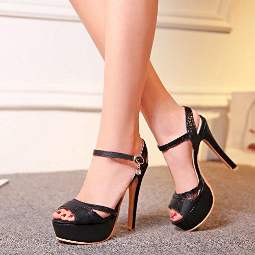 Mee Shoes Damen high heels Slingback Plateau Sandalen Schwarz