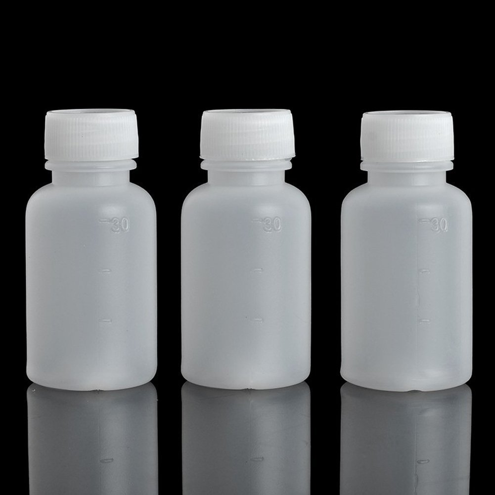 GDGY 50pcs 30ml 1oz PE Plastic Empty Small Mouth Graduated Lab Chemical Container Reagent Bottle Sample Sealing Liquid Medicine Bottle (50pcs 30ml, 1)