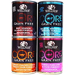 Wellness CORE Natural Grain Free Wet Canned Dog Food Variety Pack - 4 Different Flavors - 12.5 Ounces Each (12 Total Cans)