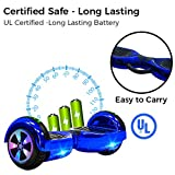 UL2272 Certified Bluetooth Capable Smart Self Balancing Hoverboard Personal Adult Transporter with LED Light- Chrome Blue