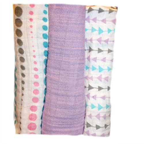 Jacqui's Baby Girls' 100% Cotton Muslin Receiving Blankets - Arrows (Dot Receiving Blanket)
