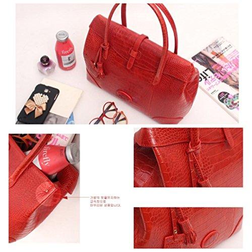 Fashion Crocodile Pattern Leather Shoulder Handbag 4 Color (Red) by PRISTINE&BB (Image #9)