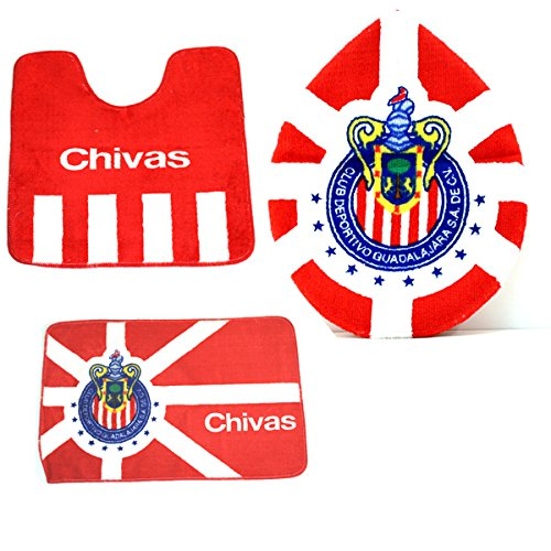 Amazon.com: CHIVAS of Guadalajara 3 Piece Rug/Lid Cover Bathroom Set! Soccer! Fully Licensed! Brand New!: Sports Collectibles