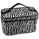 SODIAL(R) Zebra Pattern Foldable Makeup Cosmetic Hand Case Bag
