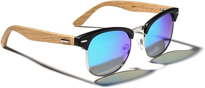 TIJN Gafas de sol Polarizado Marco de Madera Espejado Gafas de Sol para Hombres