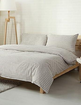 Textiles Home Zq Kariert Beige Se Wusch Baumwolle Sets Bettwäsche