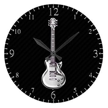 Dikoum Reloj moderno de madera para guitarra eléctrica de niños cromado en negro no rasgado madera de cuarzo reloj de pared de 30,48 cm regalos para ...