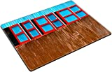 MSD Place Mat Non-Slip Natural Rubber Desk Pads design 25903188 Red and blue wooden windows on corrugated steel wall Nepal