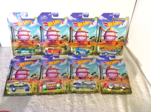 (HOT WHEELS 2014 RELEASE EASTER CARS EXCLUSIVE SET OF 8, HOT WHEELS HAPPY EASTER EXCLUSIVE VEHICLES, 1969 CAMARO, 1970 CHEVELLE CONVERTIBLE, 1932 FORD VICKY, BOOM BOX, METRORAIL NASH METROPOLITAN, PHAETON, PRO STOCK FIREBIRD AND TOYOTA OFF-ROAD TRUCK DIE-CAST SET)