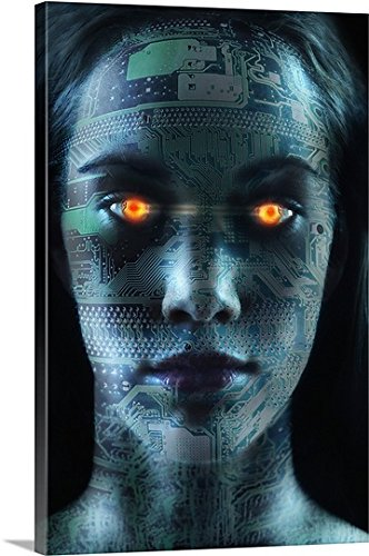 Great BIG Canvas Gallery-Wrapped Canvas entitled Headshot of robotic woman by greatBIGcanvas