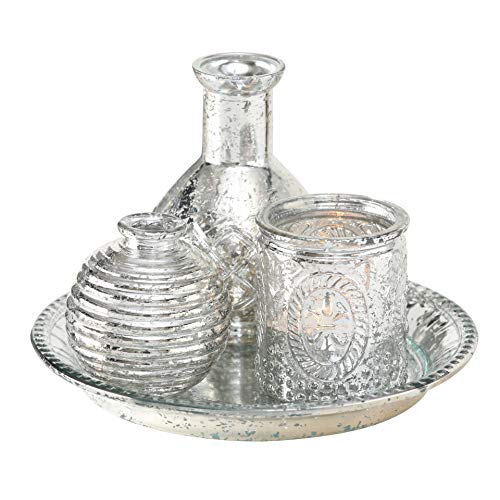 WHW Whole House Worlds 4 Piece Centerpiece Set of Votive, Vases, and Circular Tray, Silver Lacquered Mercury Glass, Vintage Style, 7 Diameter x 4.75 Tall Inches (Glass Tray Mercury)