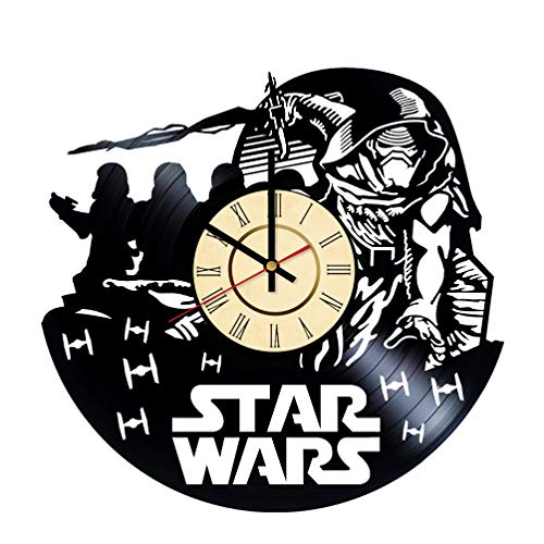 The Force Awakens Vinyl Clock Gift for Star Wars Fans Starship Wall Decor Imperial Stormtroopers Art Galactic Empire Living Room ()