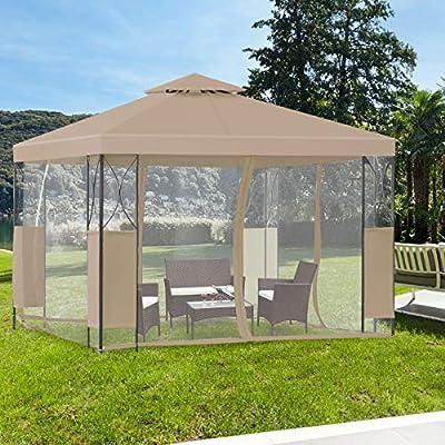 Tangkula 10'x10' 2 Tier Garden Gazebo, Fully Enclosed Outdoor Patio Canopy Tent Shelter (Coffee) : Garden & Outdoor