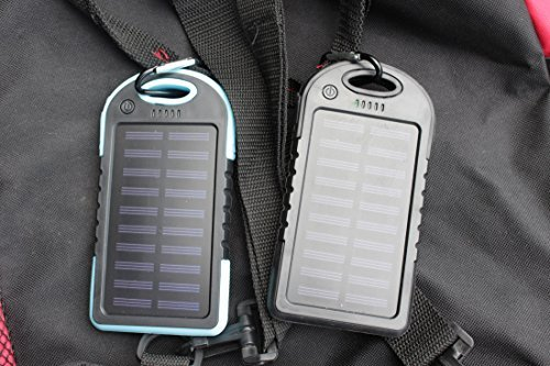 5000mAh Solar Charger Power Bank for iPhone,Android phones,Windows phones and More by BlueGateHobby -Dual USB,waterproof,Shockproof,Dustproof Portable battery bank+FREE Set of Cable Organizers(2 Pack)
