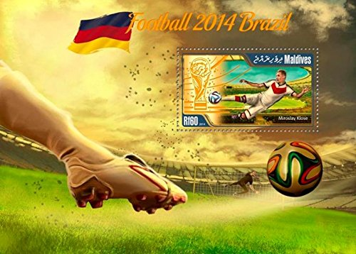 Maldives - 2014 Brazil Football Klose - Stamp Souvenir Sheet-MLD14706b