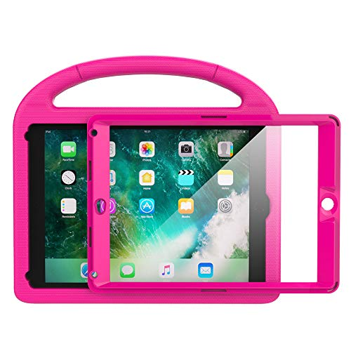 eTopxizu Kids Case for New iPad 9.7 2018/2017 with Built-in Screen Protector, Light Weight Shock Proof Handle Stand Kids Case for iPad 9.7 2017/2018 iPad Air/iPad Air 2/iPad Pro 9.7 - Rose Pink by eTopxizu