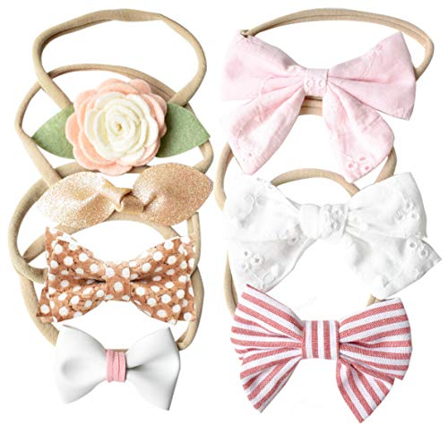 California Tot Baby Girls' Set of 7 Mixed Bows in Soft & Stretchy Nylon Headbands for Newborn, Toddler Girls (Uptown Girl ()