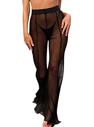cc3bad3b04 Mesh Swimsuit Cover Up Pant for Women See Through Bikini Bathing Suit Sheer  Coverup Sexy Beach