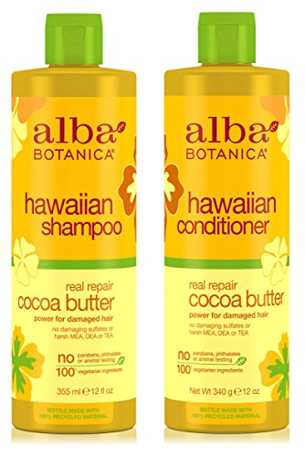 (Alba Botanica Naturals Hawaiian Shampoo and Conditioner Real Repair Cocoa Butter Bundle With Cocoa, Aloe Vera, Pineapple, Calendula, Papaya, Matricaria, Quinoa Seed, Coconut and Ginger, 12 oz. each)