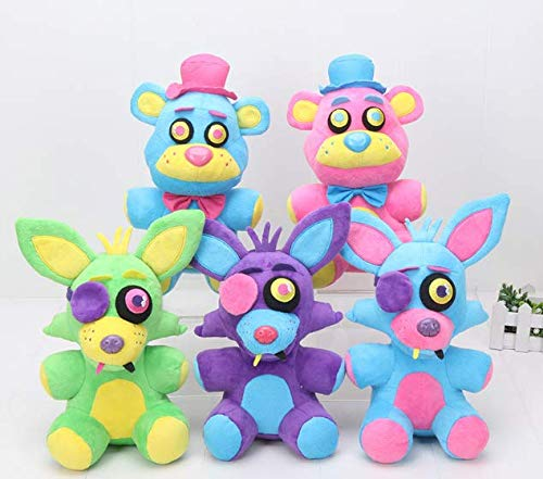 PAPEO Set 5 FNAF Plushies 9 inch Big Plush Figure Toy Huggable Large Stuffed Toys Doll Gift Christmas Halloween Birthday Gifts Cute Collection Collectible Fazbear for Kids Adults]()