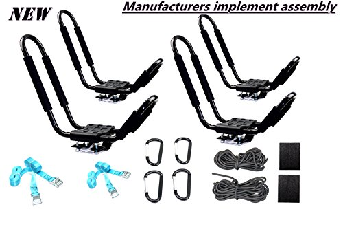 Mrhardware Universal 2 Pairs Kayak Carrier Canoe Boat Surf Ski Roof Top Mounted on Car SUV Crossbar