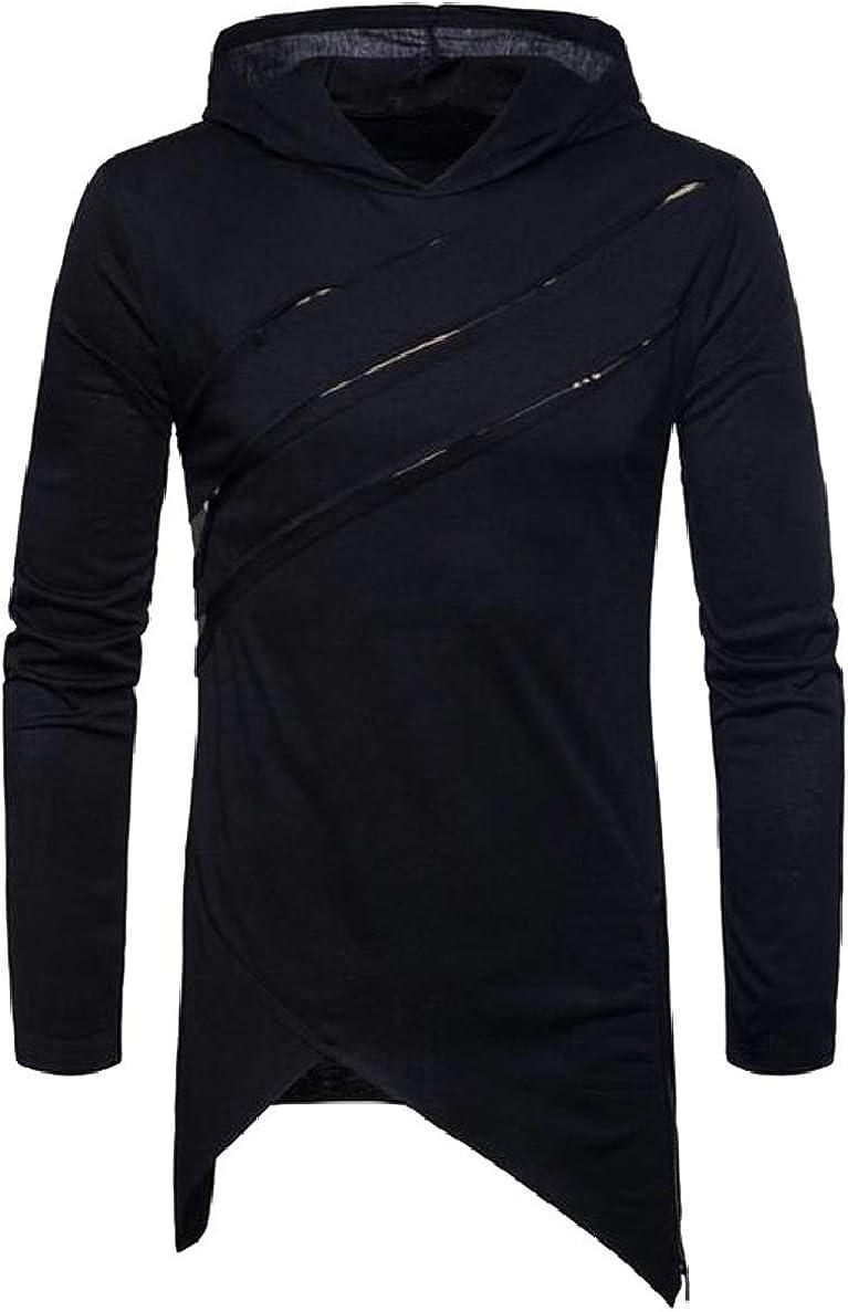 ONTBYB Mens Casual Long Sleeve Irregular Hem Hoodie Pullover Sweatshirt