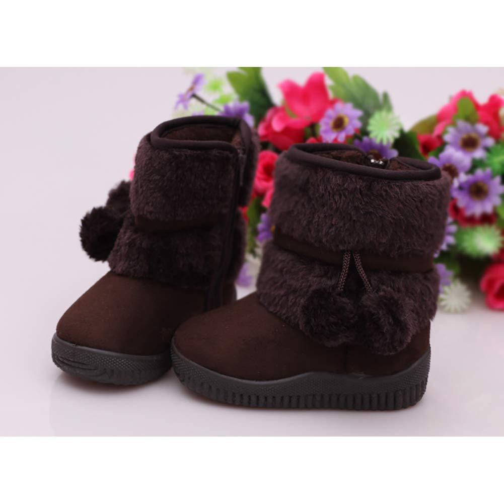 XinYiQu Girls Winter Warm Cotton Boots Plush Kids Snow Boots Shoes