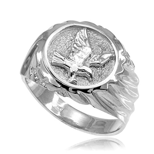 (High Polish 925 Sterling Silver American Eagle Ring for Men (Size 8.5))