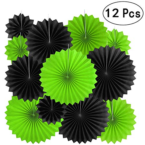 Black Green Party Hanging Paper Fans Decorations -