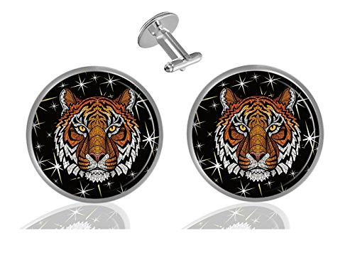 LCTCKP Color head of Tiger Custom Personality Men's 2PCS Fashion Dazzling Shirt Cuff links Initial Silver Round Cufflinks