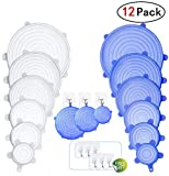 Infree Silicone Stretch Lids,12 Pack of Various Sizes to Fit Various Size and Shape of Containers,Reusable, Durable and Expandable Hanging Type Food Covers,Keeping Food Fresh with 6 Wall Hooks
