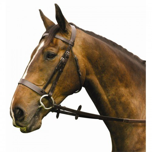 Flat Hunt Bridle - Economy Hunt / Show (flat browband) Bridle With Rubber Grip Reins, Colour: Havana (brown) Size: Full