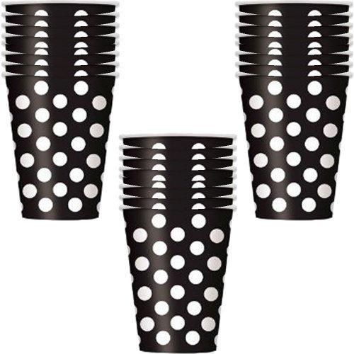 Black Polka Dot 12 oz. Cups - 18 Pieces